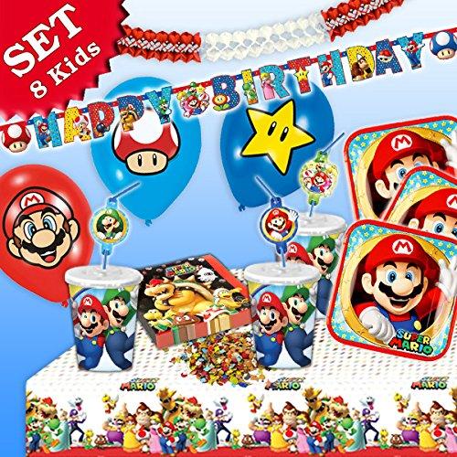 SUPER MARIO Geburtstag-Deko-Set, 54-teilig zum Kindergeburtstag für Jungen und Mädchen und Motto-Party für 8 Kids und Fans von Mario, Luigi, Bowser, Toad, Peach und Co