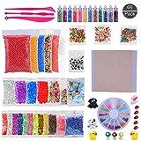(66 piezas) OOTSR kit de limo con bolas de espuma, bolas de pecera, cáscara, rodajas, cuentas de plástico, papel de azúcar, papel dorado de imitación, polvo de purpurina, mini juguetes (sin limo)
