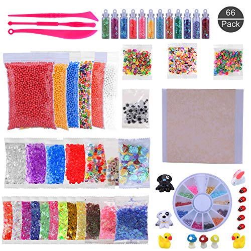 OOTSR (66 Stück) Schleim Zubehör-Kitmit Schaumkugeln, Fishbowl-Perlen, Muscheln, Scheiben, Kunststoffperlen, Zuckerpapier, Glitzerpulver, Mini-Spielzeug für DIY-Schleim (enthalten keinen Schleim)