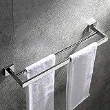 Velimax Doppel Handtuchstange Bad aus SUS304 Edelstahl Handtuchstange zum einhängen badezimmer handtuchhalter 60cm Wandmontage Poliert 60cm