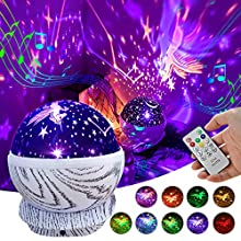 Baby Night Light Projector Rechargeable Kids Unicorn Star Rotating Led Projector Lamp with Remote Control, 8 Musics and 10 Colors, Christmas/Birthday Gifts for 3-12 Year Old Girls Boys Children