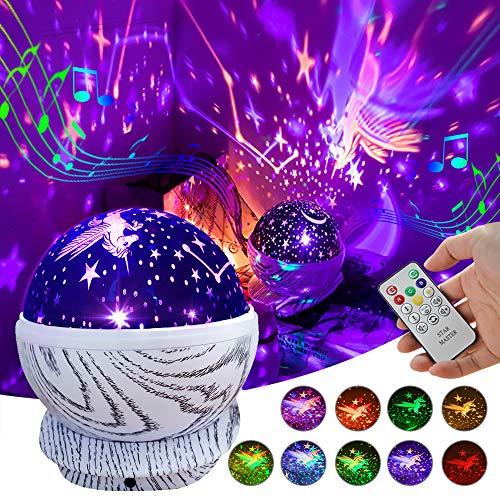 Baby Night Light Projector Recargable Kids Unicorn Star Lámpara de proyector LED giratoria con control remoto, 8 músicas y 10 colores, Juguetes para niños de 3 12 años