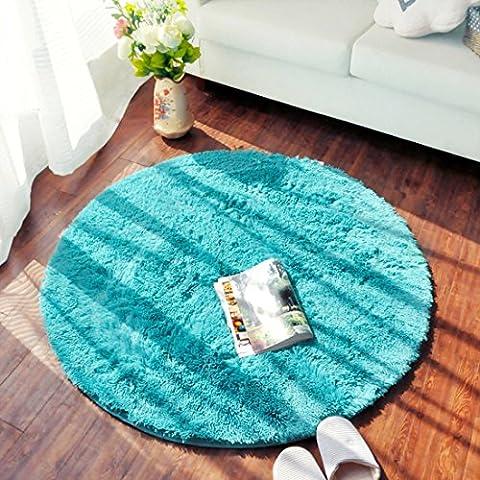 Sannix Tapis poilu rond ultra doux pour chambre ou aire de jeu d'enfants, Polyester Tissu Éponge, bleu, 62.3