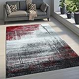 Paco Home Edler Designer Wohnzimmer Teppich Kurzflor Farbverlauf Abstraktes Muster Rot, Grösse:80x150 cm