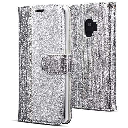 WIWJ Kompatibel mit Samsung Galaxy S9 Hülle,Handyhülle Samsung Galaxy S9,Flip Case Cover Premium Tasche[Punktbohrer Ledertasche]Handytasche Brieftasche Hülle Etui Schutzhülle-Silber