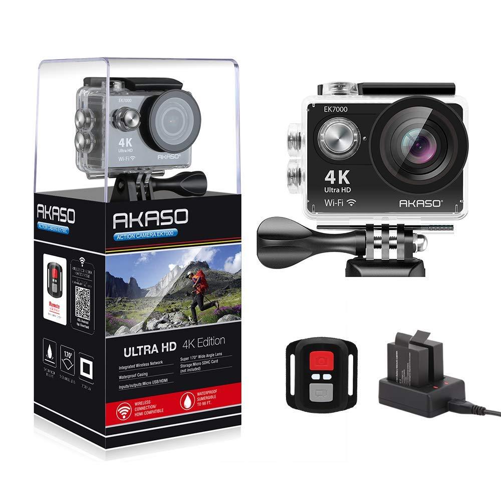 AKASO EK7000 4K WiFi Action Camera 30M Underwater Waterproof Camera 170° Wide Angle Sports Camera with 2 Batteries and Helmet Accessories Kit