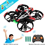 GEEKERA Mini Drone for Kids, 2 in 1 Remote + Gesture Control Helicopter RC Quadcopter Plane, 3 Batteries, 3D Flips,LED Lights, Altitude Hold, Headless Mode, One Key Return, Gift for Boy Girl Birthday