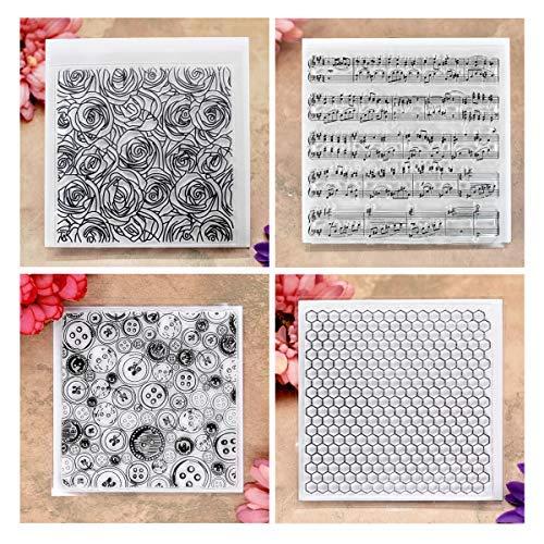 Kwan Crafts 4 Blatt verschiedene Stile Rosenwaben-Hintergrund transparent Stempel für Karten Basteln und Basteln -