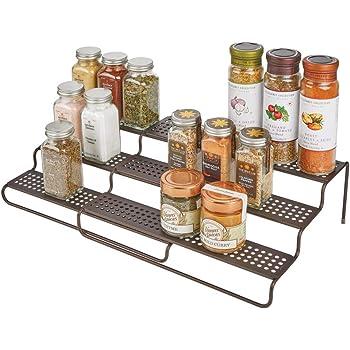 mDesign Gewürzregal für Küchenschrank – ausziehbares Küchenregal für ...