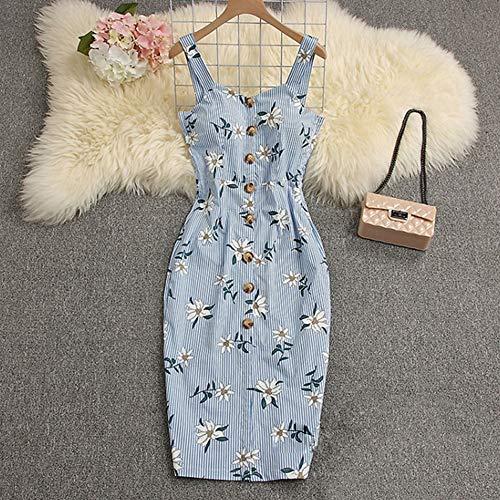 XINJIA Frauen Kleider Sling sexy schlanke Tasche Hüfte Streifen drucken Kleid - Stufenrock Nähen