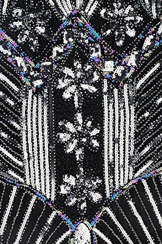 BABEYOND Damen Flapper Kleider voller Pailletten Retro 1920er Jahre Stil V-Ausschnitt Great Gatsby Motto Party Damen Kostüm Kleid Schwarz