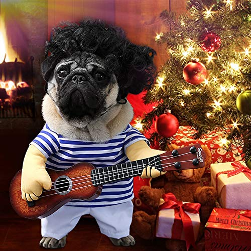 Idefair Lustige Gitarrenhund Kostüme Haustierbekleidung Hundekleidung Anzug für Welpen Kleine Mittlere Hunde Chihuahua Teddy Pug Weihnachten Party Halloween Kostüme Outfit (XL)