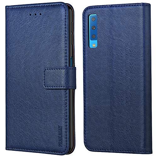 Peakally Samsung Galaxy A7 2018 Hülle, Premium Leder Tasche Flip Wallet Case [Standfunktion] [Kartenfächern] PU-Leder Schutzhülle Brieftasche Handyhülle für Samsung Galaxy A7 2018-Blau