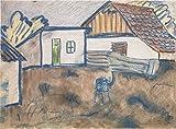 Das Museum Outlet–Otto Mueller–Hauser mit Ofen und Schwein–ca1928–Leinwand Print Online kaufen (152,4x 203,2cm)