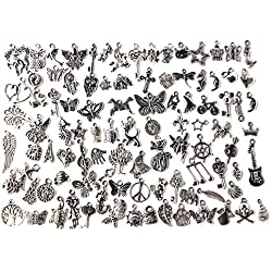 Contever 100 stück Charm Anhänger zum Basteln von Bettelarmbändern für Armband Halskette Ohrring Gemischte Charms (Silber)