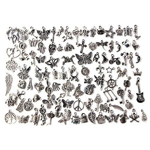 (Contever 100 stück Charm Anhänger zum Basteln von Bettelarmbändern für Armband Halskette Ohrring Gemischte Charms (Silber))