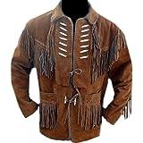Classyak Men's Cowboy Leather Jacket with Bones and Fringes