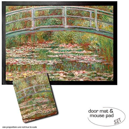 Set: 1 Fußmatte Türmatte (70x50 cm) + 1 Mauspad (23x19 cm) - Claude Monet, Die Japanische Brücke, 1899 -