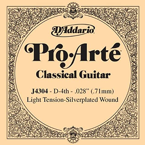 D'Addario J4304 - Cuerda para guitarra clásica de nylon, 4ª cuerda (tensión baja)