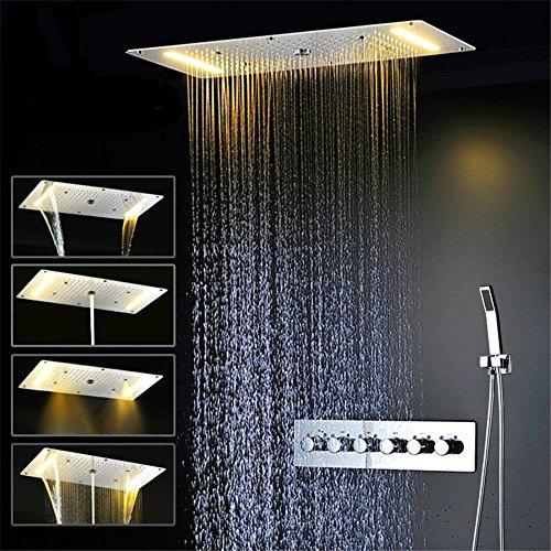 Modylee Bagno doccia Pannello di rubinetto accessori specificati rubinetto rubinetto acqua calda e fredda doccia soffitto del LED pioggia, doccia a cascata testa