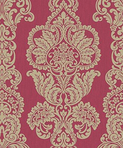 Fine Decor Rochester Damask Textured Glitter Wallpaper Red / Gold (FD40897)