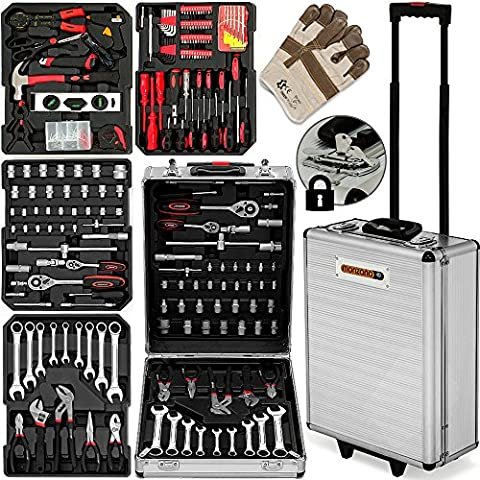 Toolkit Precision Tools 629 Pcs Tool Kit Set in Trolley With Lock - Box Case Garage Mobile Workshop Toolbox with Pliers Wrench Screwdriver Bits