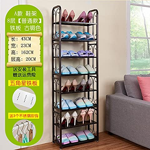 HOOM-Slated Storage Organiser Shoe Stand Rack?shoe shelf for room,white,8Tier Coppery