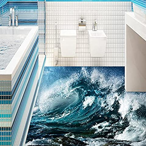 Lqwx Tile Flooring Bathroom Creative Blue Ocean Waves Vinyl Flooring 3D Wallpaper Custom Papel De Parede 3D Wall Papers Home Decor 430Cmx300Cm