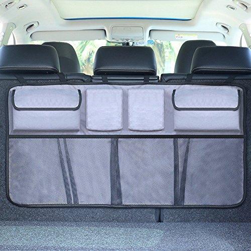 Autoradio arrière pour voiture Accessoires pour voiture multi sac de stockage pochette sac de réseau Version actualisée 90X33.5cm Sezione aggiornamento grigio scuro