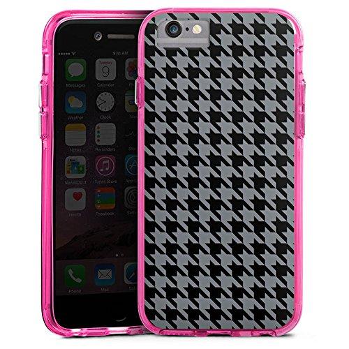 Apple iPhone 6s Bumper Hülle Bumper Case Glitzer Hülle Muster Pattern Schwarz Grau Bumper Case transparent pink