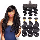 10A 13x4 Ear to Ear Lace Frontal Closure with Hair Bundles Brazilian Virgin Hair 3 Bundles Body Wave with Closure for Women Natural Black Color (10 12 14+10 inch (frontal))