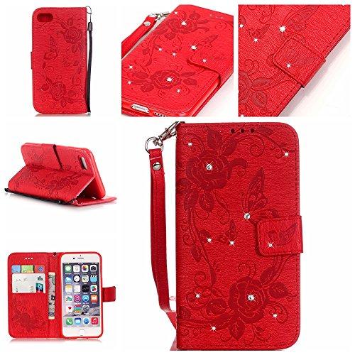 iPhone 7 Wallet Case Cover - Cozy Hut ® Slim Full Body Cuir Coque Pour iPhone7 Flip Bling Diamant strass Reliefs Fleur de papillon Design PU Dragonne Détachable Étui Portefeuille Housse Etui - rouge rouge