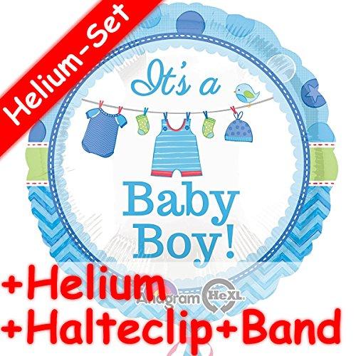 T'S A BABY BOY + HELIUM FÜLLUNG + HALTE CLIP + BAND * für eine Baby-Party zur Geburt // Junge Kinder Geburtstag Folien Ballon Helium Deko Ballongas Motto (Baby Boy Helium-ballons)