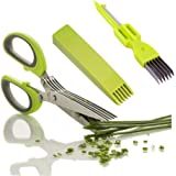 Jumbosky Kitchen Herb Scissors Stainless Steel,Multipurpose Herb Cutting Chopping and Shredding with 5 Blades and Cover with Cleaning Comb