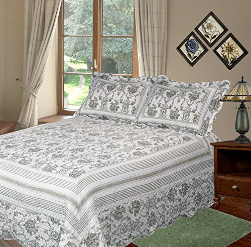 Patch Magic Wisteria Lattice Quilt Set with 2 Shams, King, Apple Green by Patch Magic