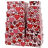 Aufbewahrungsboxen/Schachteln im 10er Set mit Deckel Verschiedene Designs (Herzen Rot)
