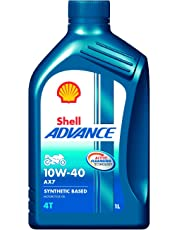 Shell Advance AX7 600042667 10W-40 API SM Synthetic Technology Motorbike Engine Oil (1 L)