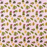SCHÖNER LEBEN. Baumwolljersey Jersey Stoff Kaktus rosa grün 1,50m Breite