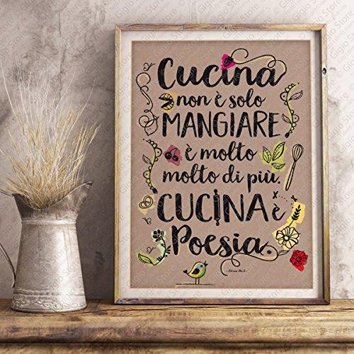 Poster Adesivo Murale per Muro e Parete scritta cucina non è solo mangiare. cucina è poesia | Gigio Store