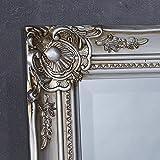 Wandspiegel Spiegel silber 132 x 72 cm Antik-Stil barock m. Facettenschliff Ganzkörperspiegel Ankleidespiegel Garderobenspiegel