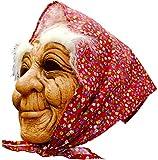 Funpack - Ma6850  - Masque souple vieille dame a/foulard et sourcils blancs adulte pvc