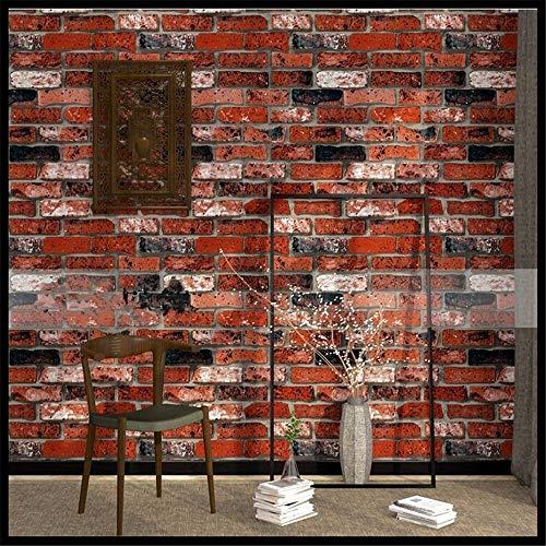 Tapeten Wandbild WandaufkleberRetro Nostalgie 3D Stereo Ziegel Tapete Cafe Bar Restaurant Kultur Stein Red Brick Wall Papier Papel De Parede (Red Papier Brick)