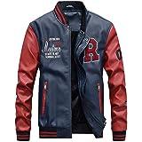 KJHSDNN Men's Baseball Varsity Jacket PU Leather Waterproof Casual Flight Bomber Coat