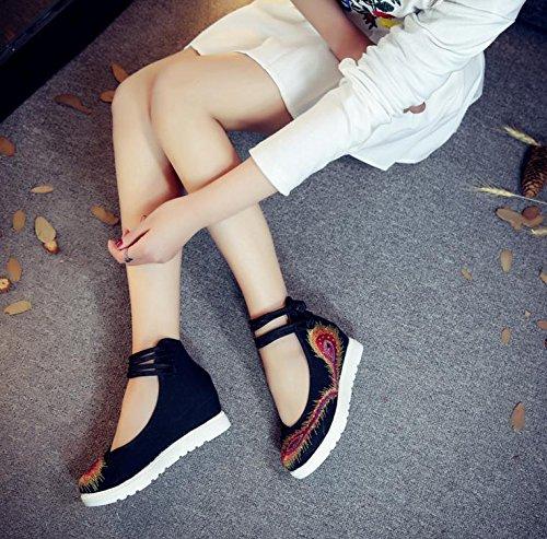 DESY Chaussures brodées, semelles tendineuses, style ethnique, chaussures en tissu féminin, mode, confortable, décontracté dans l'augmentation , green , 37