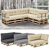 [en.casa] 1x Eckkissen für Euro-Paletten-Sofa [beige] Palettenkissen Auflage In/Outdoor Polster Möbel