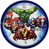 Wanduhr -  The Avengers  - incl. Name - 25 cm groß - sehr leise ! - Uhr - Analog - Wohnzimmer & Kinderzimmer - für Jungen - Junge Kinder - Kinderuhr - Assem..