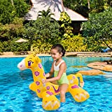 Pool Float , Lounger Swimming Inflatable PVC Pool Floats Raft with Rapid Valves Pool Seat Boat Float Swim Ring for Summer Pool Party Games Toy (Giraffe)