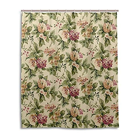 Bath Shower Curtain 60x72 Inch,Shabby Chic Court Vintage Floral,Mildew Proof Polyester Fabric Bathroom