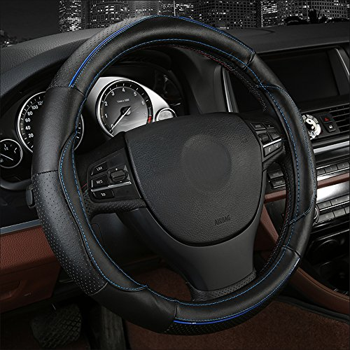 Auto Leder-Lenkrad Cover passen 38 cm Atmungsaktiv Anti-Rutsch