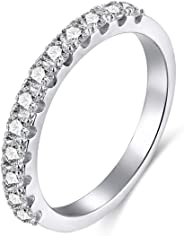 EAMTI 2mm 925 Sterling Silver Wedding Band Cubic Zirconia Half Eternity Stackable Engagement Ring Size 3-13